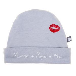 """Bulle de BB Bonnet bébé doublé pur coton """"Maman + Papa = Moi"""""""