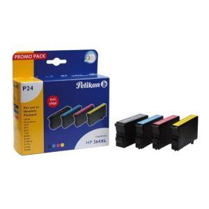 Pelikan P24 - Pack de 4 cartouches (noir, jaune, cyan et magenta) compatibles HP 364XL