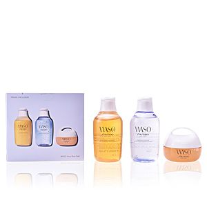 Shiseido Waso - Coffret gel nettoyant fraîcheur, lotion gelée rafraîchissante et crème méga hydratante