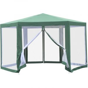 Outsunny Tonnelle Barnum Tente de réception hexagonale 10 m² Style Cosy métal Polyester imperméabilisé Surface env. 10 m² Vert Blanc
