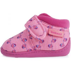 Isotoner Chaussons enfant Chaussons Bottillon velcro jersey Fille rose - Taille 20,21,22,23,24,25,26,27