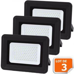 Lampesecoenergie Lot de 3 LED Projecteur Lampe 100W Noir 6000K IP65 Extra Plat