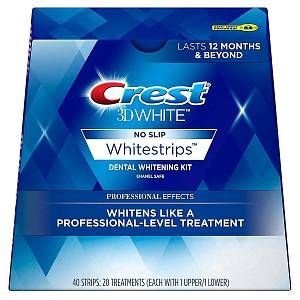 Crest 3D No Slip Whitestrips Dental Whitening Kit - Professional Effects - 40 Strips (20 Treatments)