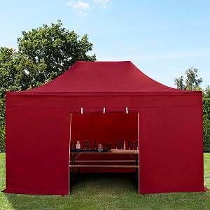 Intent24 Tente pliante tente pliable 3x4,5m - sans fenêtre PROFESSIONAL toit 100% imperméable tente de jardin pavillon rouge.FR