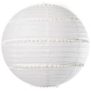 Lanterne avec pompons blanc 35 cm Taille Unique