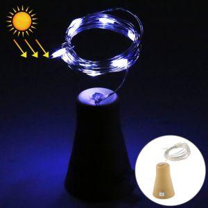 WeWoo Guirlande LED Lumière de fil solaire de fil de cuivre de blanche de 1m, 10 décorative de lampe de fée de SMD 0603 avec le bouchon de bouteille, DC 5V