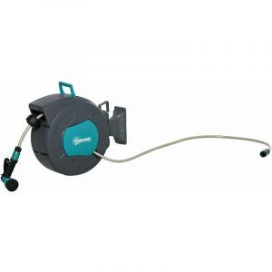 Outsunny Dévidoir Mural Enrouleur Automatique pivotant 180° Tuyau 15 + 1,4 m avec Lance arrosage Support Mural intégré Turquoise Gris