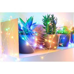Blachère illumination Guirlande micro-LED - 7,5 m - Multicolore - 150 LED - 16 fonctions mémoire - Câble argent transparent