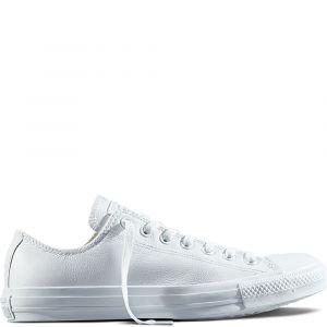 Converse Chuck Taylor All Star Monochrome Leather Ox W - Baskets Femme, Blanc