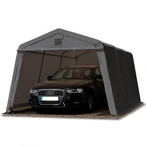 Intent24 TOOLPORT Abri/Tente garage PREMIUM 3,3 x 4,8 m pour voiture et bateau - toile PVC 500 g/m² imperméable gris.FR