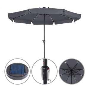 Deuba Kingsleeve Parasol Aluminium Anthracite 3,3m Athènes inclinable éclairage 32 LED Protection manivelle Souple cantonnières Parasol Protection Soleil terrasse Balcon