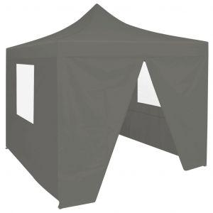 VidaXL Tente de réception pliable avec 4 parois 2x2 m Acier Anthracite