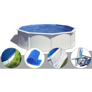Gre Kit piscine acier blanc Wet ronde 4,80 x 1,22 m avec filtration à sable + Bâche hiver + Bâche à bulles + Tapis de sol + Kit d'entretien