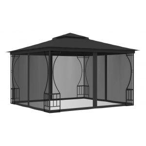 VidaXL Tonnelle avec rideaux 300x300x265 cm Anthracite