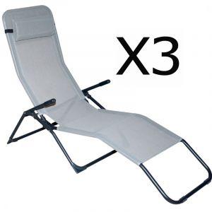 Pegane Lot de 3 Chaises longue en texaline + coussin appui t?te, gris - Dim : 193 x 59 x 96 cm