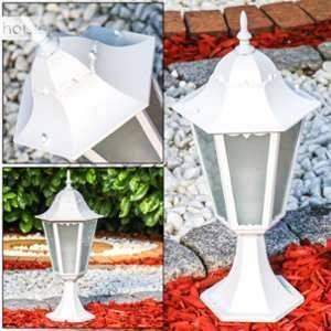 Hofstein Borne d'éclairage Hong Kong Frost en fonte d'aluminium de couleur blanc et verre opale - Lampe d'extérieur classique - Luminaire de sentier - Balise pour jardin - terrasse - chemin