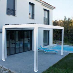 Pergola Orient 9 m² autoportante en aluminium blanc