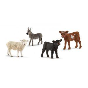 Schleich Figurines animaux de la ferme (veaux,mouton, Âne)