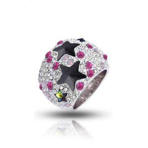 Blue Pearls Cry H403 C - Bague Dome Étoiles en Cristal Swarovski Elements Rose et plaqué rhodium