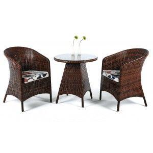 Hévéa Flandes - Ensemble de table et 2 chaises de jardin avec coussin Elsa