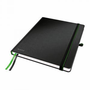 Leitz 4474-00-95 - Cahier broché Complete 18 x 24 cm, 160 pages ivoire 96 g/m² lignées, élastique de fermeture, couv. rigide noir