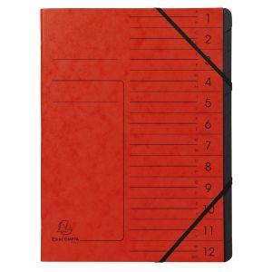 Exacompta 541205E - Trieur agrafé Carte lustrée, 12 compartiments, coloris rouge