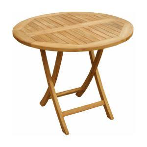 Teck'Attitude Table de jardin ronde pliante en teck Ø90 x 74 cm