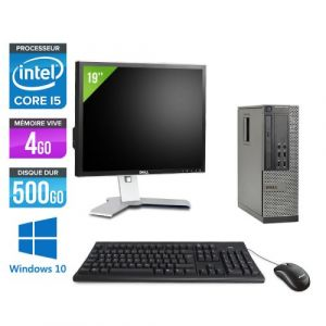 Dell Optiplex 7010 SFF + Ecran 19'' - Intel Core i5-3470 / 3.20 GHz - RAM 4 Go - HDD 500 Go - DVDRW - GigaBit Ethernet - Windows 10 Professionnel