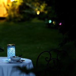 Galix Lampe de table solaire cylindre bleu -