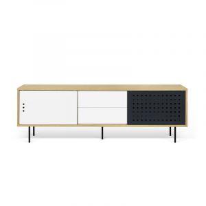"TemaHome Meuble TV Design ""Dann Dots"" 201cm Chêne & Blanc"