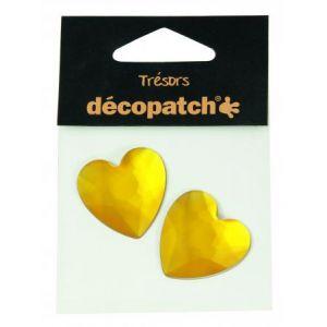 decopatch Cabochons 2 cœurs jaune 3 cm