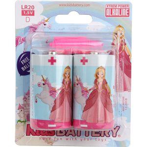 Kidsbattery Lot de 2 piles alcaline Princesses LR20 (D)