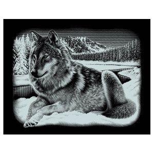 Mammut Kit image à gratter loup , 25 x 20 cm