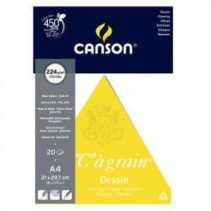 """Canson 200027183 - Bloc 20 feuilles """"C"""" à grain® Arts graphiques (collées 1 côté) A4 224g/m², grain fin blanc naturel"""