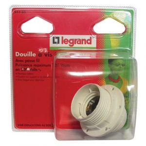 Legrand Douille E27 demi-fileté avec passe fil + bague - 150 W - Accessoire luminaire
