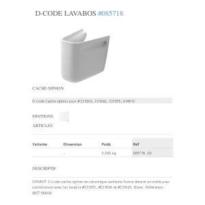 Duravit Cache Siphon Lavabo D-Code Blanc 0857180000