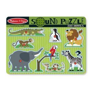 Melissa & Doug Puzzle en bois sonore : Animaux de jardin zoologique