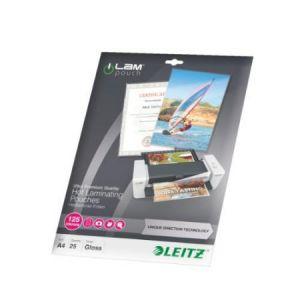 Leitz 25 pochettes plastifiées brillant, cristal 125 microns iLAM A4