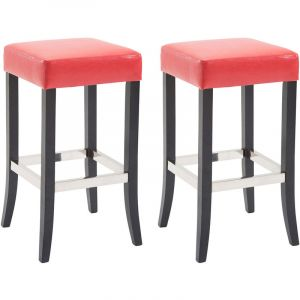 CLP Lot de 2 tabourets de bar Venta similicuir, rouge