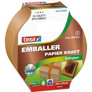 Tesa Adhésif emballage papier kraft écologique - 20 m x 50 mm - Ruban gros emballage, Dévidoir