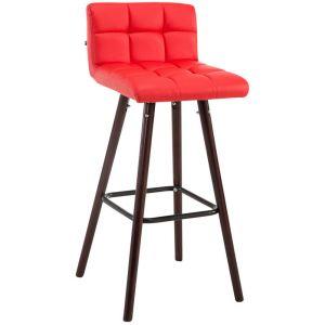CLP Tabouret de Bar LINCOLN V2 Rembourré Revêtement Similicuir I Chaise de Bar Dossier Pieds en Bois Repose-pied Confortable I Couleur: rouge, Piètement: noix