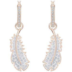 Swarovski Boucles d'oreilles Pendantes en Métal Rose et Cristal Blanc