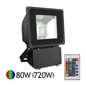 Vision-El Projecteur Led 80W (720W) IP65 RGB 16 couleurs avec télécommande -