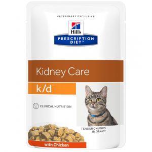 Hill's Feline k/d - Sac 12 sachets de 85 g, Saveur : Beef