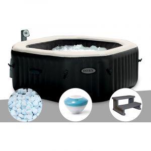 Intex Spa gonflable PureSpa octogonal Bulles et Jets 6 places + 5 kg de Sel + Enceinte LED + Marche Spa