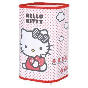 Corep Lampe à poser carrée bords arrondis Hello Kitty en tissu
