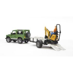 Bruder Toys 2593 - Land Rover avec remorque et mini pelle JC - Echelle 1:16