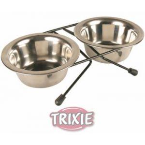 Trixie Support pour 2 écuelles en métal  en inox