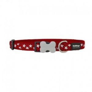 RedDingo Collier Réglable pour Chien Rouge Etoiles Blanc 20-32 cm 12 mm