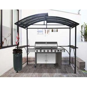 Foresta Habrita - Carport pour barbecue à double toit en acier 2,63 x 1,50 x 2,40 m gris anthracite - CAR2415AC